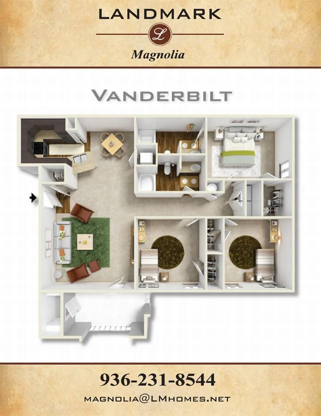 1,312 sq. ft. Vanderbilt floor plan