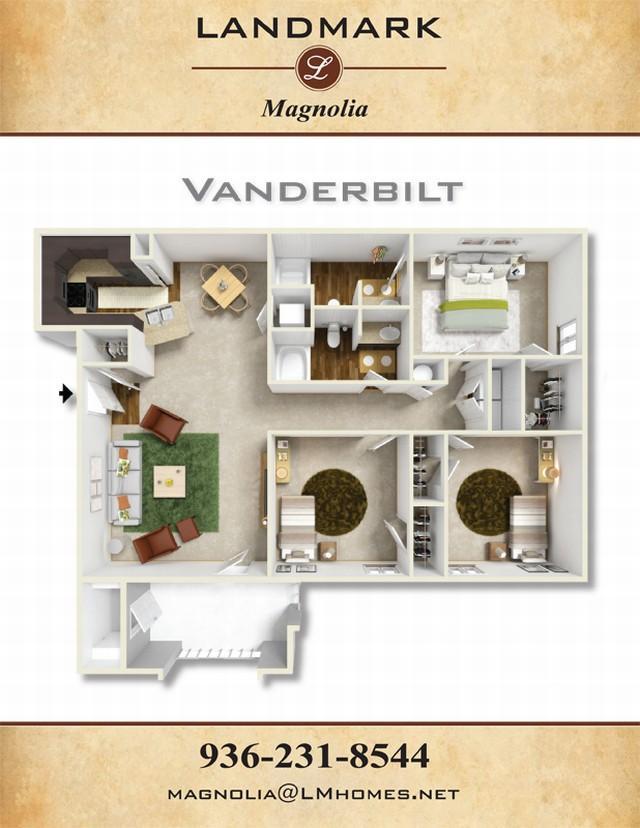 1,312 sq. ft. Vanderbilt floor plan
