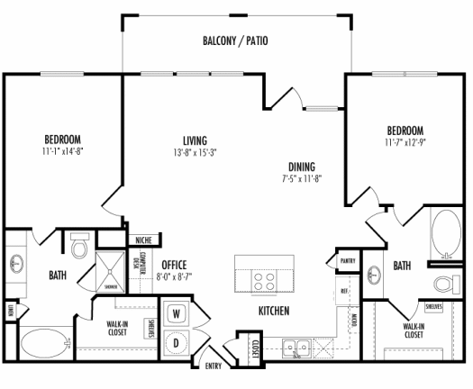 1,197 sq. ft. Santander floor plan