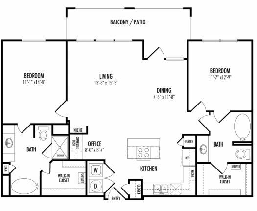 1,197 sq. ft. Santander floor plan