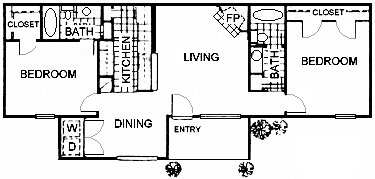985 sq. ft. B6 floor plan