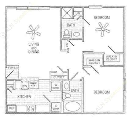 1,042 sq. ft. Mkt floor plan