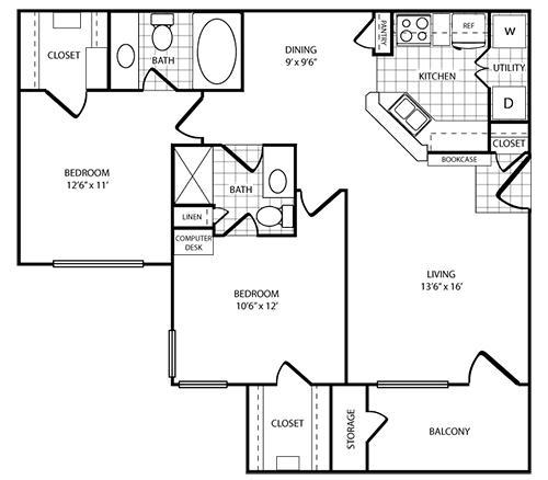 972 sq. ft. Island floor plan