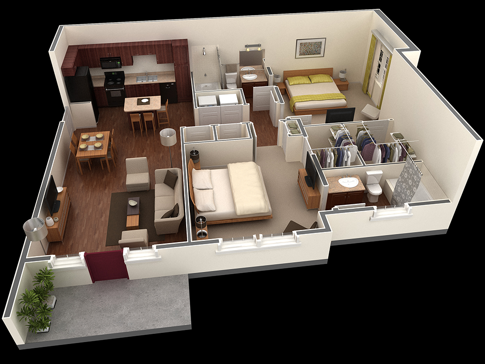 1,125 sq. ft. Owens floor plan
