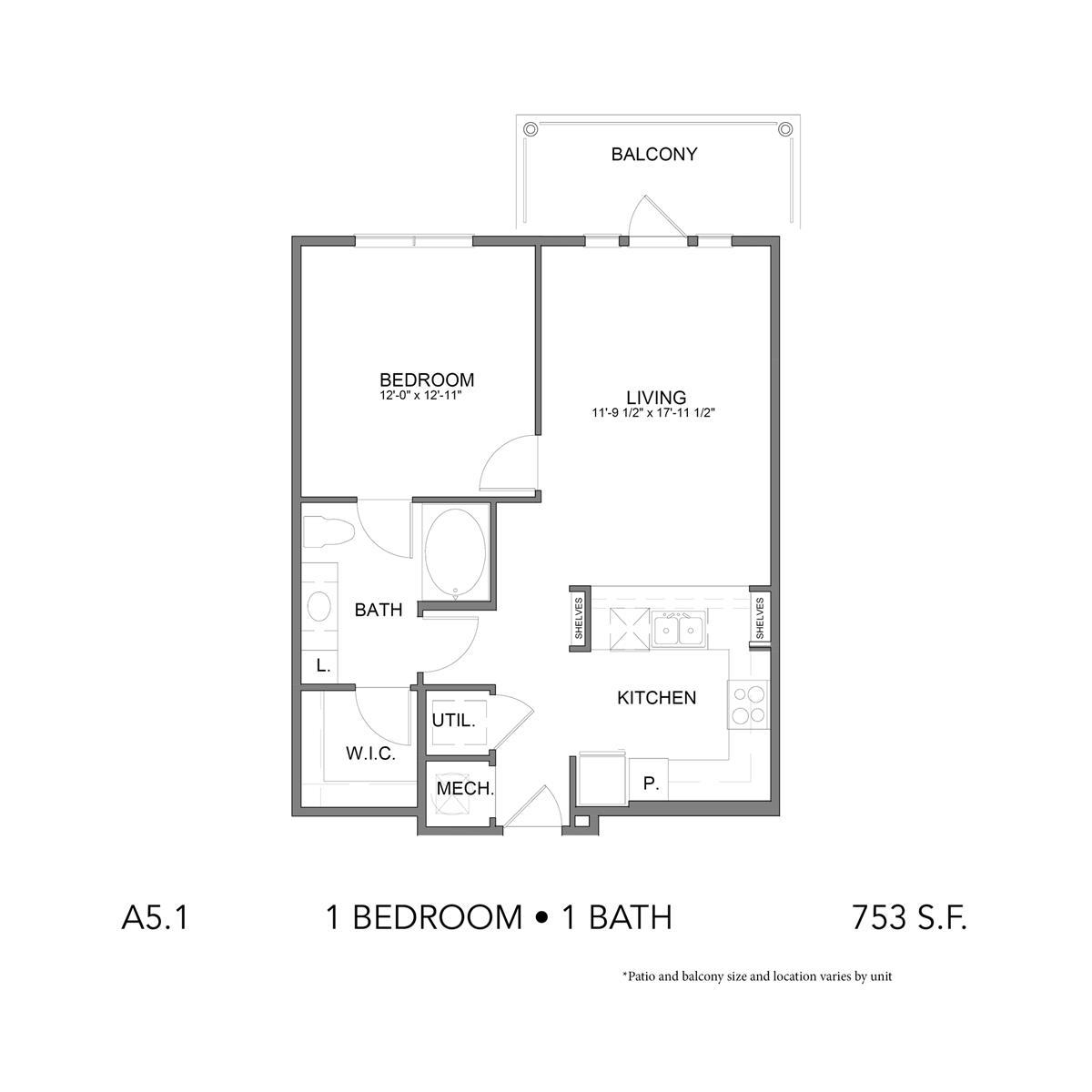 753 sq. ft. A5.1 floor plan