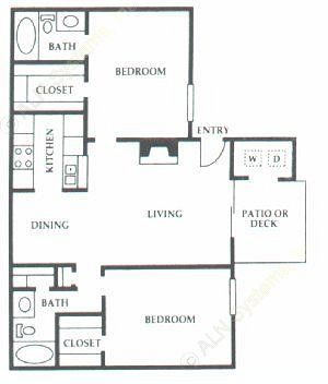 930 sq. ft. F2 floor plan