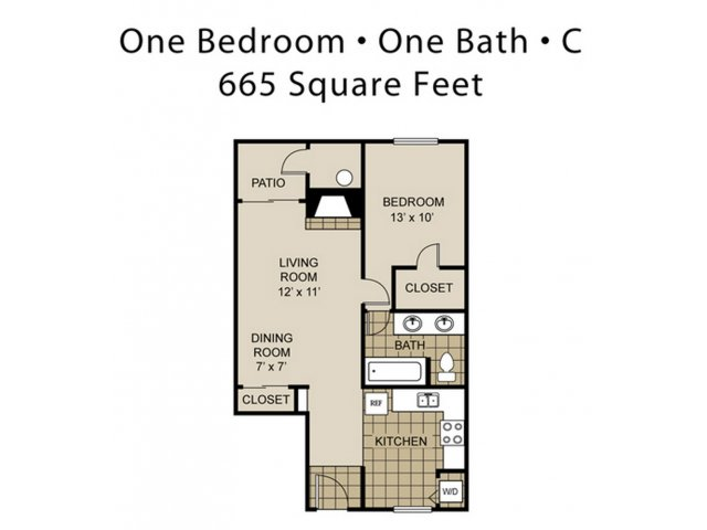 665 sq. ft. A12-C floor plan