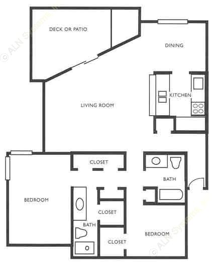 1,276 sq. ft. B3 floor plan