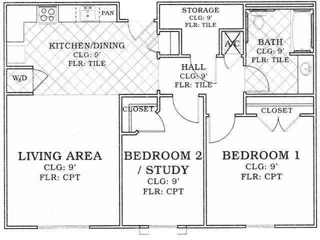928 sq. ft. 30% floor plan
