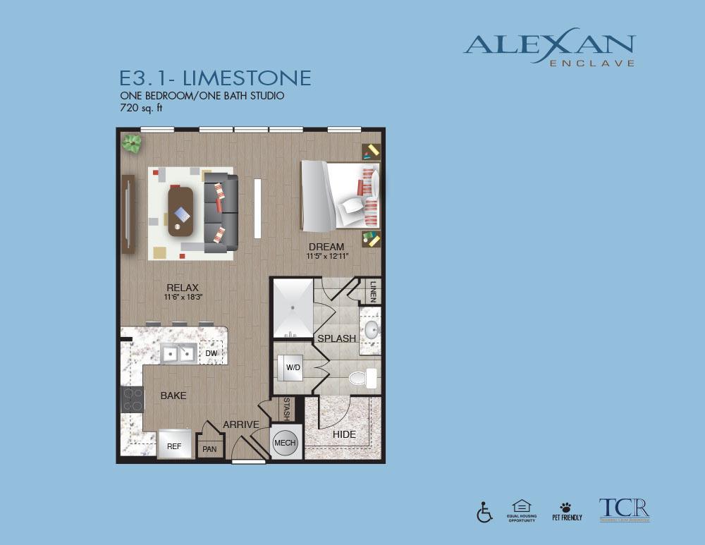 720 sq. ft. Limestone floor plan