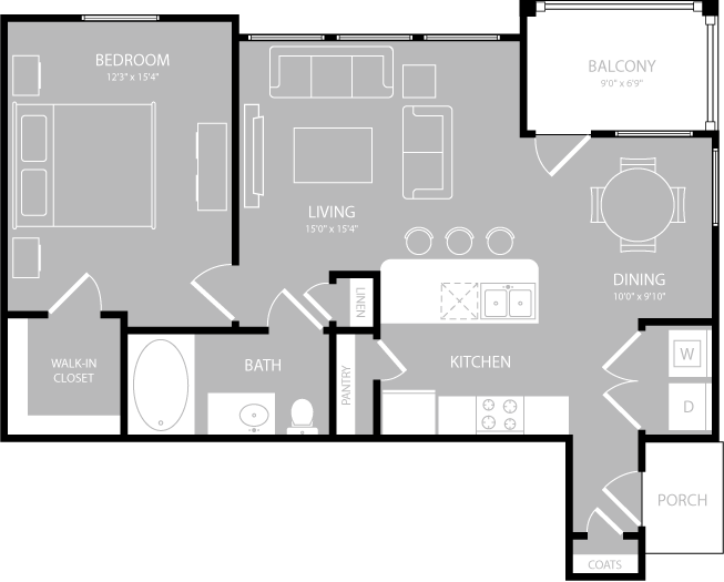 775 sq. ft. Aria floor plan