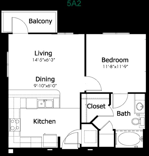 602 sq. ft. to 895 sq. ft. 5a2c floor plan