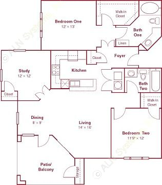 1,256 sq. ft. B3 floor plan