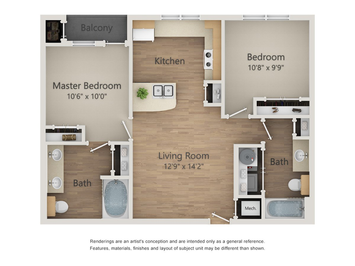 828 sq. ft. B1A/60% floor plan