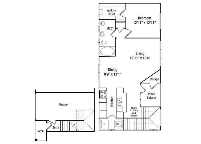 928 sq. ft. A6G floor plan