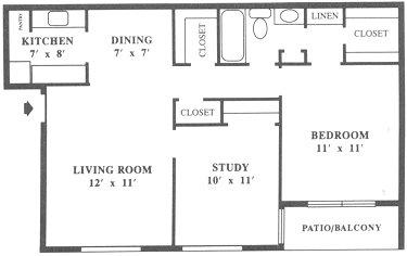 787 sq. ft. A7 floor plan