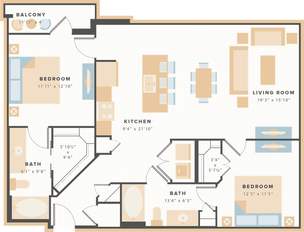 1,121 sq. ft. B6 floor plan