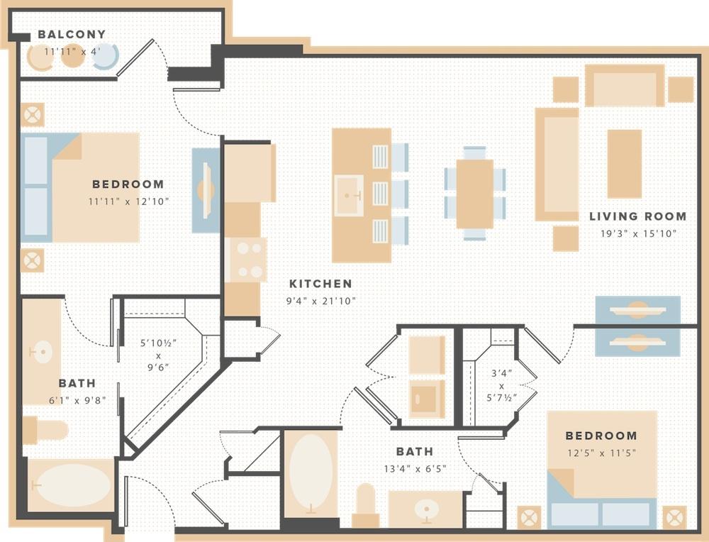 1,121 sq. ft. B6 floor plan