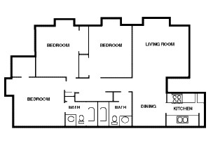 1,045 sq. ft. C1 floor plan