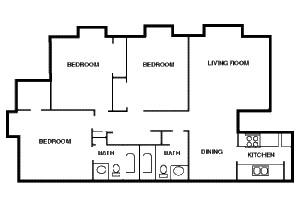1,045 sq. ft. C1 floor plan