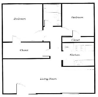 820 sq. ft. B floor plan
