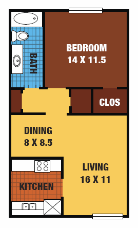 655 sq. ft. 60% floor plan