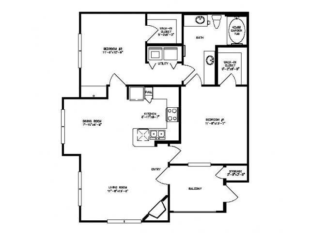 1,001 sq. ft. Willow floor plan