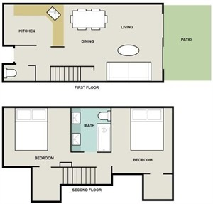 1,206 sq. ft. Ferdinand II floor plan