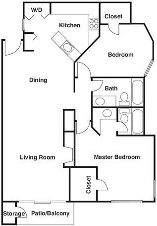 1,108 sq. ft. B5 floor plan