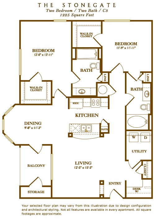 1,225 sq. ft. Stonegate floor plan