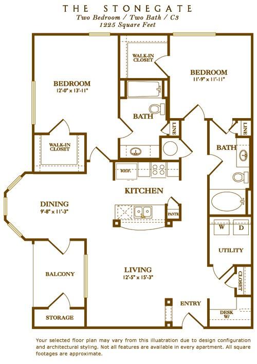 1,225 sq. ft. Stonegate floor plan