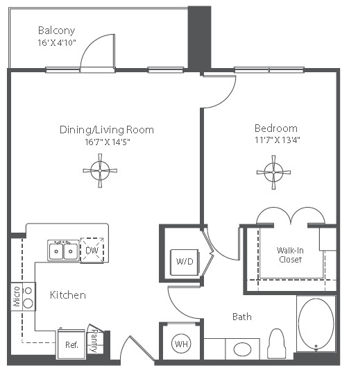 758 sq. ft. A8 floor plan