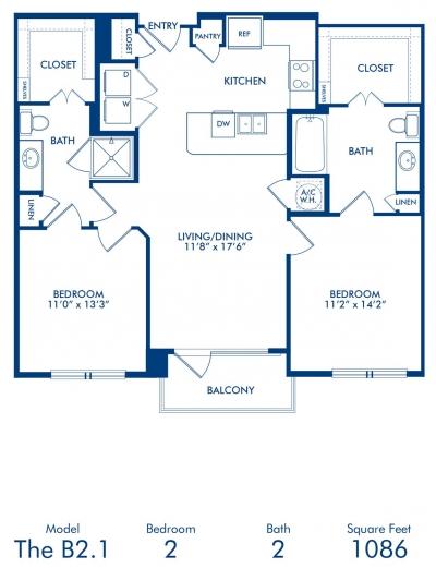1,086 sq. ft. B2.1 floor plan