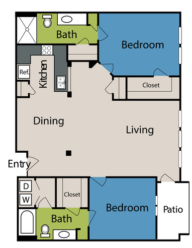 1,269 sq. ft. to 1,322 sq. ft. floor plan