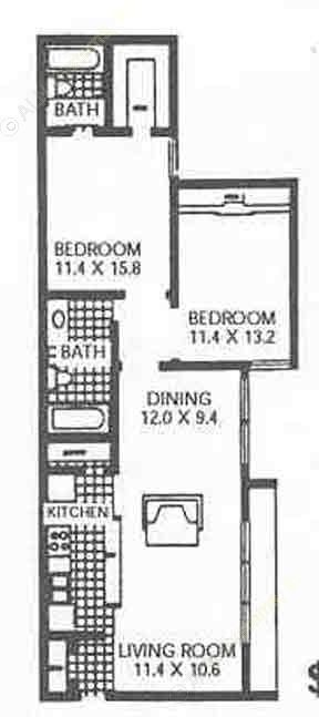 1,007 sq. ft. B3 floor plan