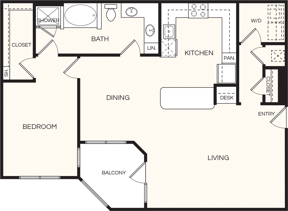 1,143 sq. ft. A6 floor plan