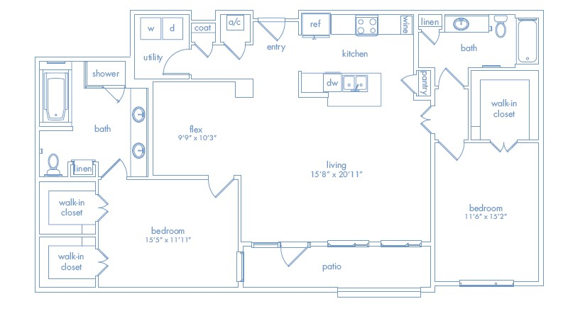 1,581 sq. ft. Rodin floor plan