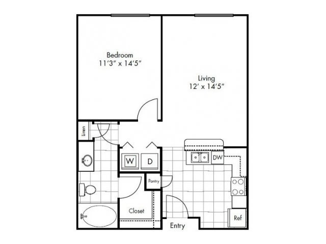 669 sq. ft. to 822 sq. ft. Abilene floor plan