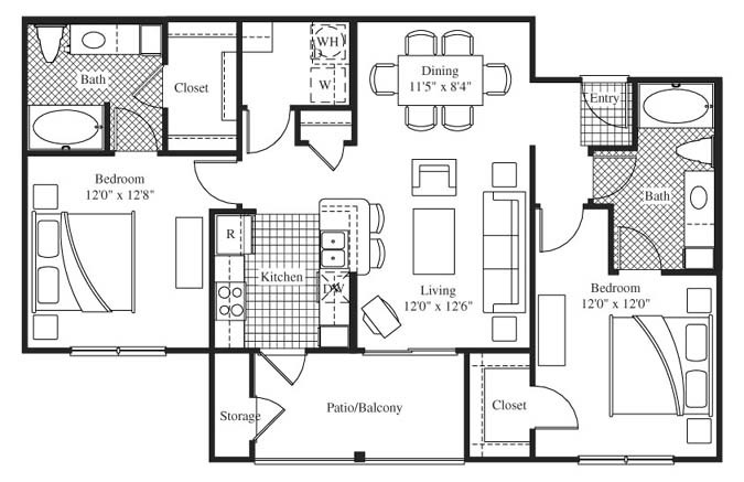 1,095 sq. ft. Rutherford floor plan