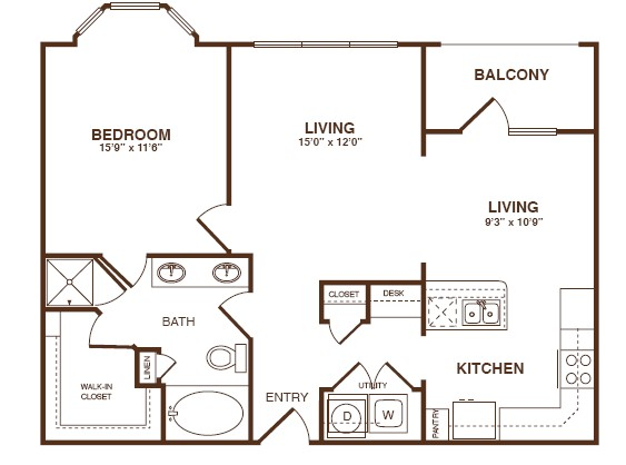 872 sq. ft. A4 floor plan