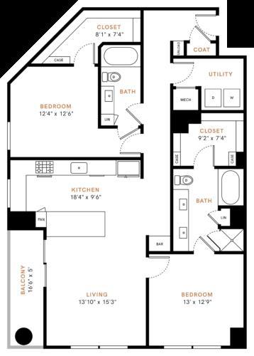 1,418 sq. ft. B4 floor plan