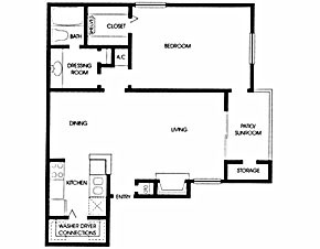 719 sq. ft. A5 floor plan