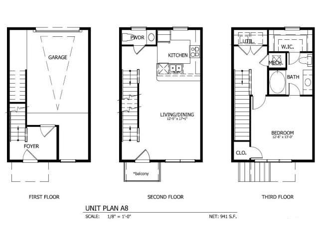 1,001 sq. ft. THA.8G floor plan
