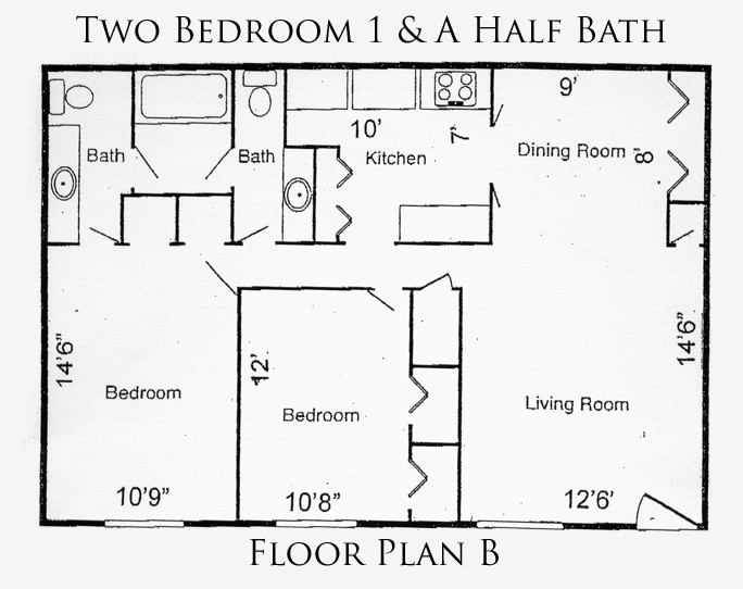 932 sq. ft. B floor plan
