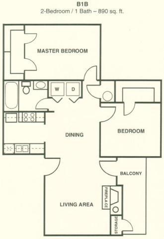 890 sq. ft. B1B floor plan