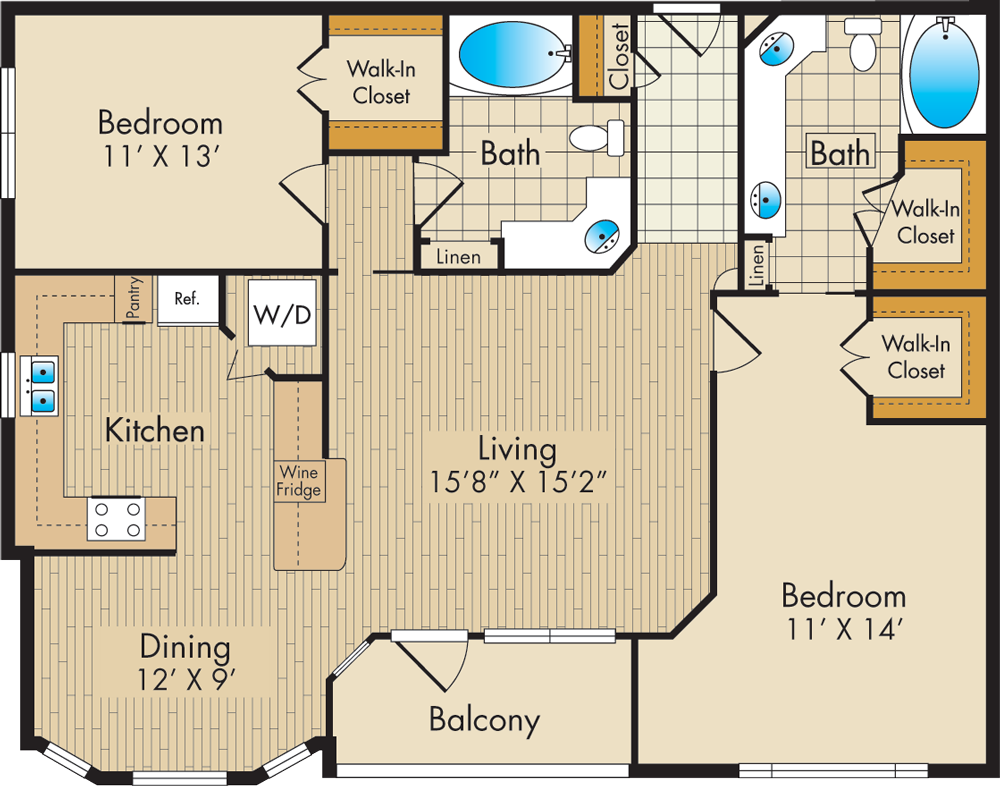 1,231 sq. ft. F floor plan