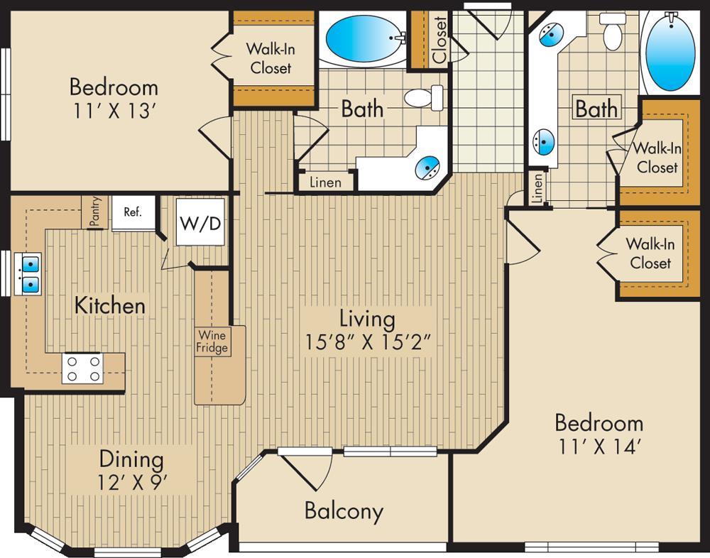 1,231 sq. ft. F floor plan