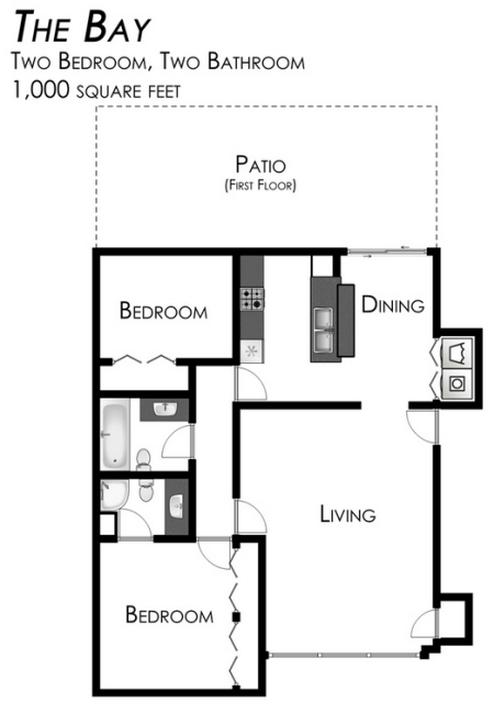 1,200 sq. ft. B-2 floor plan