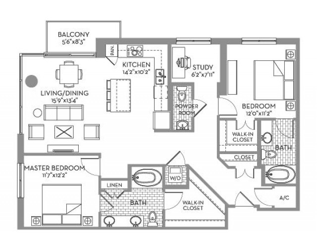 1,359 sq. ft. Royal(B.5) floor plan