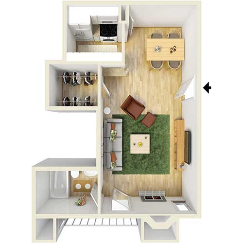 450 sq. ft. A2 floor plan